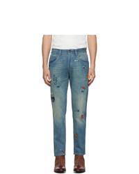 blaue bestickte Jeans von Gucci