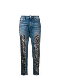 blaue bestickte Jeans von Philipp Plein