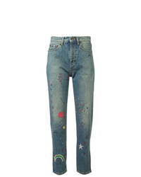 blaue bestickte Jeans von Saint Laurent