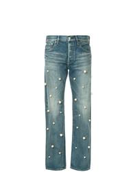 blaue bestickte Jeans von Tu Es Mon Trésor