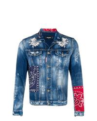 blaue bestickte Jeansjacke von DSQUARED2