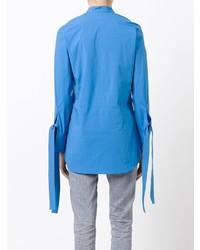 blaue Bluse mit Knöpfen von Erika Cavallini