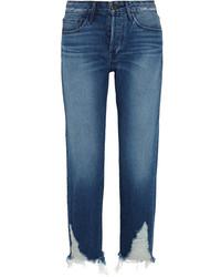 blaue Boyfriend Jeans mit Destroyed-Effekten von 3x1