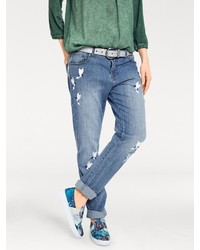 blaue Boyfriend Jeans mit Destroyed-Effekten von B.C. BEST CONNECTIONS by Heine