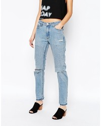 blaue Boyfriend Jeans mit Destroyed-Effekten von Cheap Monday