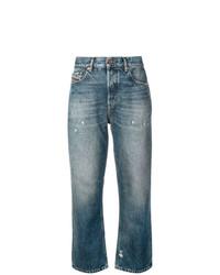 blaue Boyfriend Jeans mit Destroyed-Effekten von Diesel