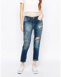 blaue Boyfriend Jeans mit Destroyed-Effekten von Dittos