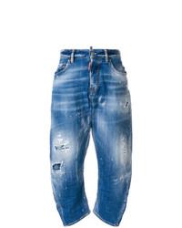 blaue Boyfriend Jeans mit Destroyed-Effekten von Dsquared2