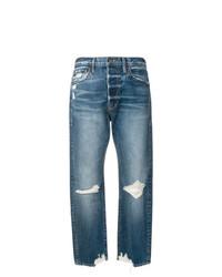 blaue Boyfriend Jeans mit Destroyed-Effekten von Frame Denim
