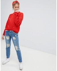 blaue Boyfriend Jeans mit Destroyed-Effekten von Jdy