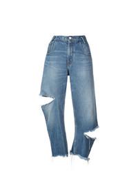 blaue Boyfriend Jeans mit Destroyed-Effekten von Monse