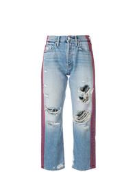 blaue Boyfriend Jeans mit Destroyed-Effekten von Mother