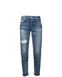 blaue Boyfriend Jeans mit Destroyed-Effekten von Moussy Vintage