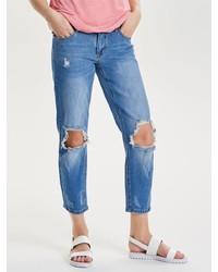 blaue Boyfriend Jeans mit Destroyed-Effekten von Only