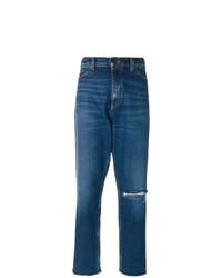 blaue Boyfriend Jeans mit Destroyed-Effekten von Saint Laurent