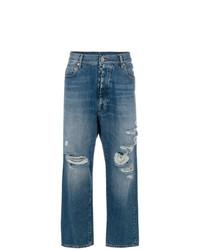 blaue Boyfriend Jeans mit Destroyed-Effekten von Unravel Project