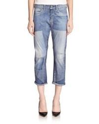 blaue Boyfriend Jeans mit Flicken