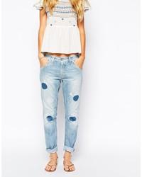 blaue Boyfriend Jeans mit Flicken von Pepe Jeans