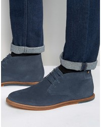 blaue Chukka-Stiefel aus Wildleder