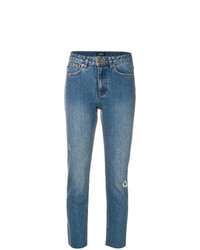blaue enge Jeans mit Destroyed-Effekten von A.P.C.