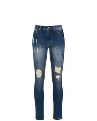 blaue enge Jeans mit Destroyed-Effekten von Amapô