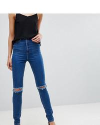 blaue enge Jeans mit Destroyed-Effekten von Asos Tall