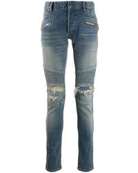 blaue enge Jeans mit Destroyed-Effekten von Balmain