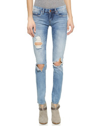 Blaue Enge Jeans mit Destroyed-Effekten von Blank