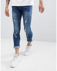 blaue enge Jeans mit Destroyed-Effekten von Brave Soul