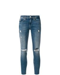blaue enge Jeans mit Destroyed-Effekten von Calvin Klein Jeans