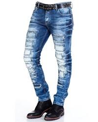 blaue enge Jeans mit Destroyed-Effekten von Cipo & Baxx
