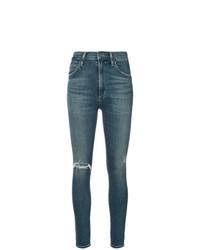 blaue enge Jeans mit Destroyed-Effekten von Citizens of Humanity