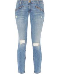 blaue enge Jeans mit Destroyed-Effekten von Current/Elliott