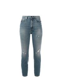 blaue enge Jeans mit Destroyed-Effekten von Diesel Black Gold