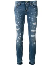 blaue enge Jeans mit Destroyed-Effekten von Dolce & Gabbana