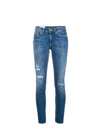 blaue enge Jeans mit Destroyed-Effekten von Dondup