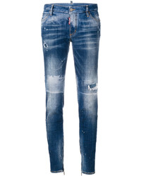 blaue enge Jeans mit Destroyed-Effekten von Dsquared2