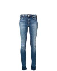 blaue enge Jeans mit Destroyed-Effekten von Emporio Armani