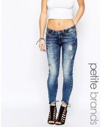 Blaue Enge Jeans mit Destroyed-Effekten