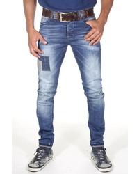 blaue enge Jeans mit Destroyed-Effekten von EX-PENT