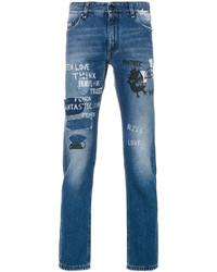 blaue enge Jeans mit Destroyed-Effekten von Fendi