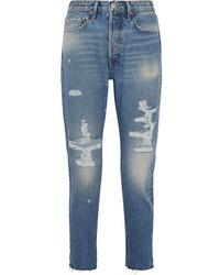 blaue enge Jeans mit Destroyed-Effekten von Frame
