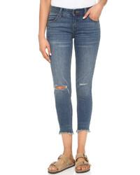 blaue enge Jeans mit Destroyed-Effekten von Free People