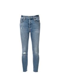 blaue enge Jeans mit Destroyed-Effekten von Grlfrnd