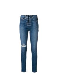 blaue enge Jeans mit Destroyed-Effekten von Hudson
