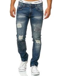 blaue enge Jeans mit Destroyed-Effekten von INDICODE