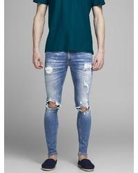 blaue enge Jeans mit Destroyed-Effekten von Jack & Jones