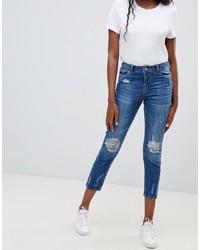 blaue enge Jeans mit Destroyed-Effekten von Jdy