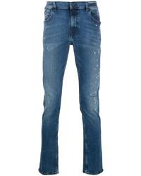 blaue enge Jeans mit Destroyed-Effekten von Karl Lagerfeld