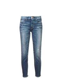 blaue enge Jeans mit Destroyed-Effekten von Moussy Vintage